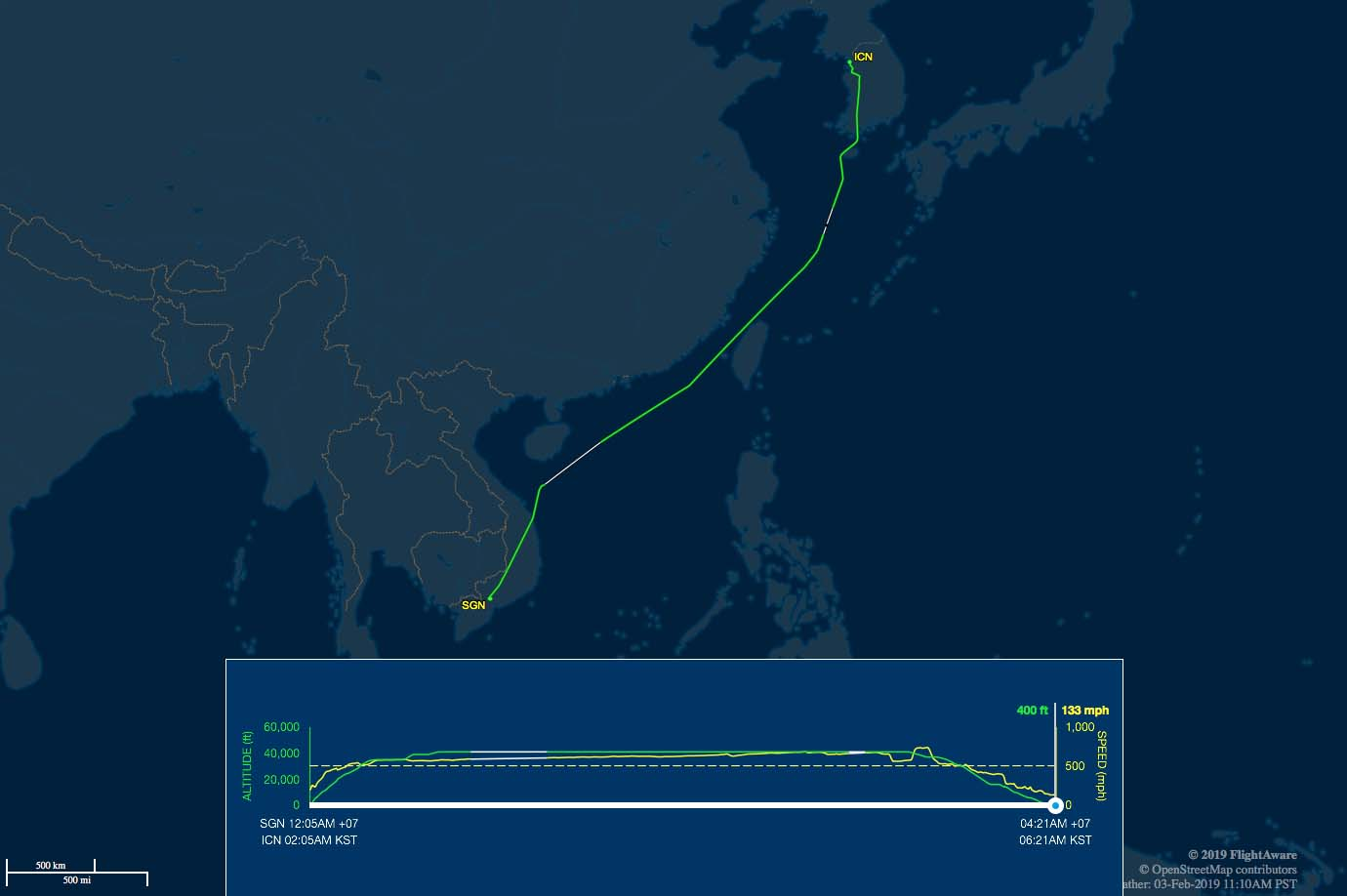 SGN-ICN route map