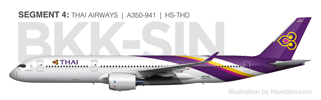 Thai Airways A350-900 side view illustration