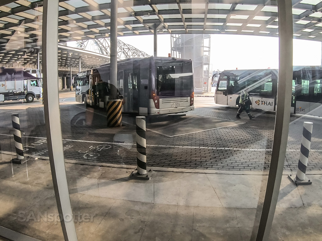 Bangkok Airport remote gate bus