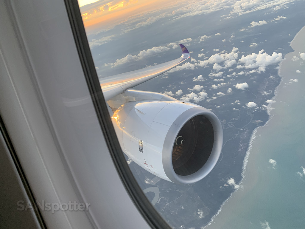 Thai Airways A350 wing and engine