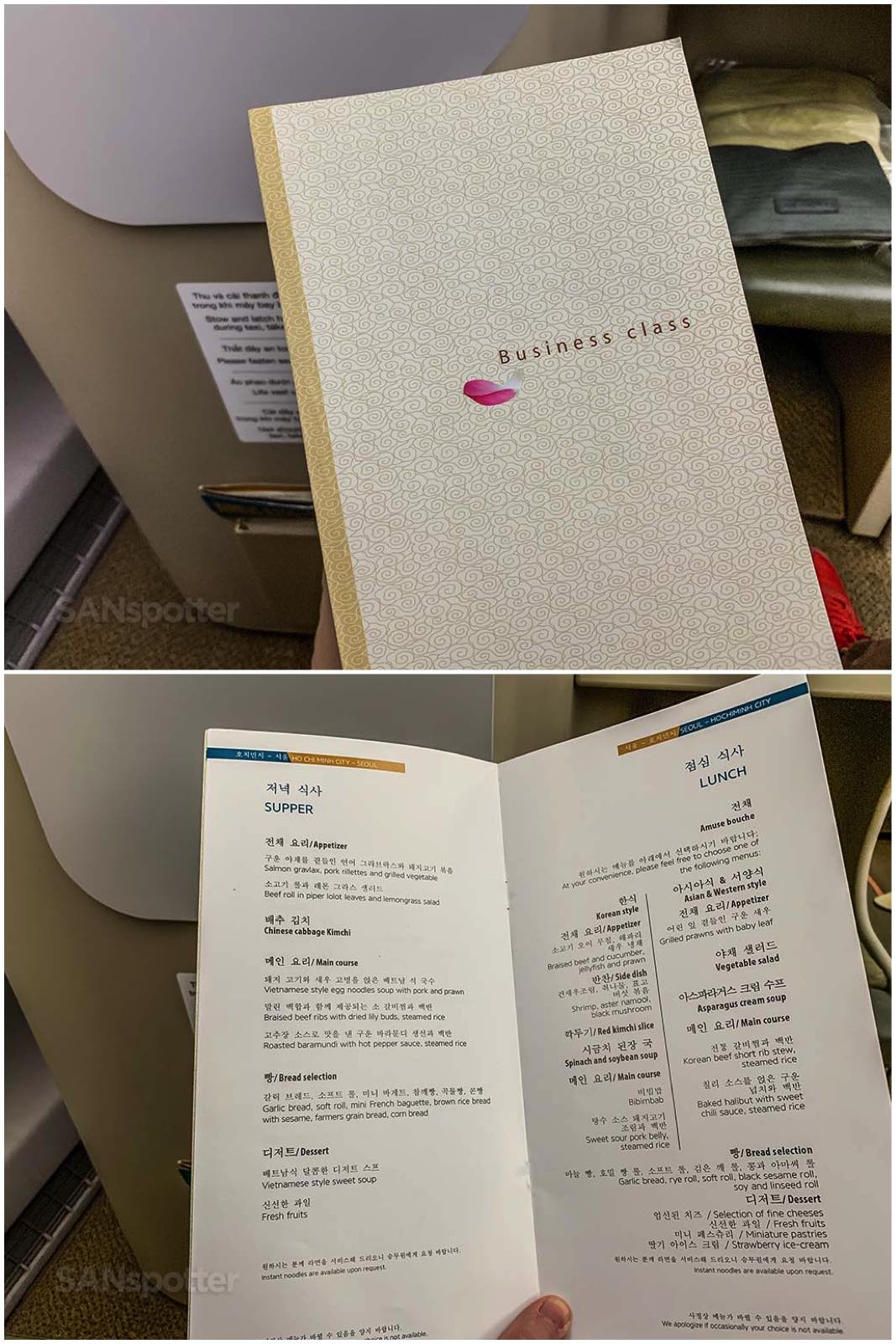 Vietnam Airlines business class menu