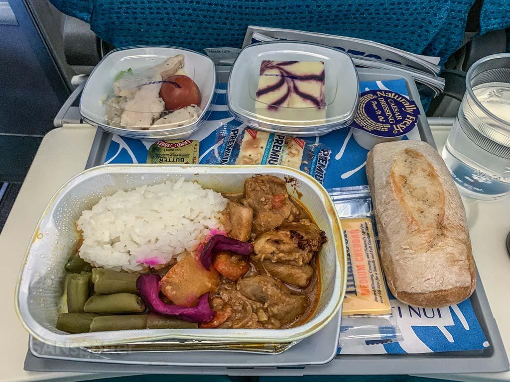 Air Tahiti Nui economy class meal