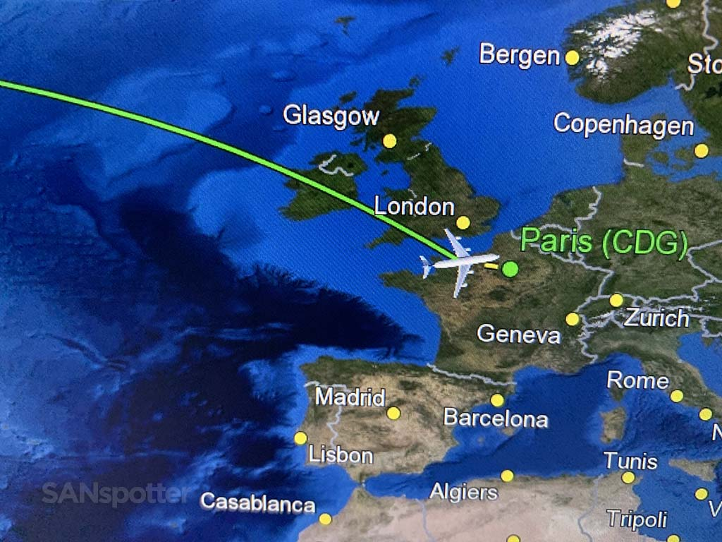 Transatlantic flight to Paris