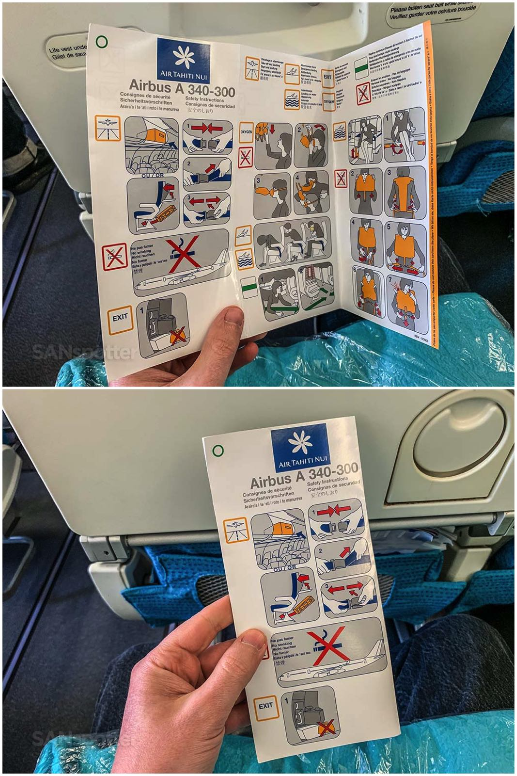 Air Tahiti Nui a340 safety card