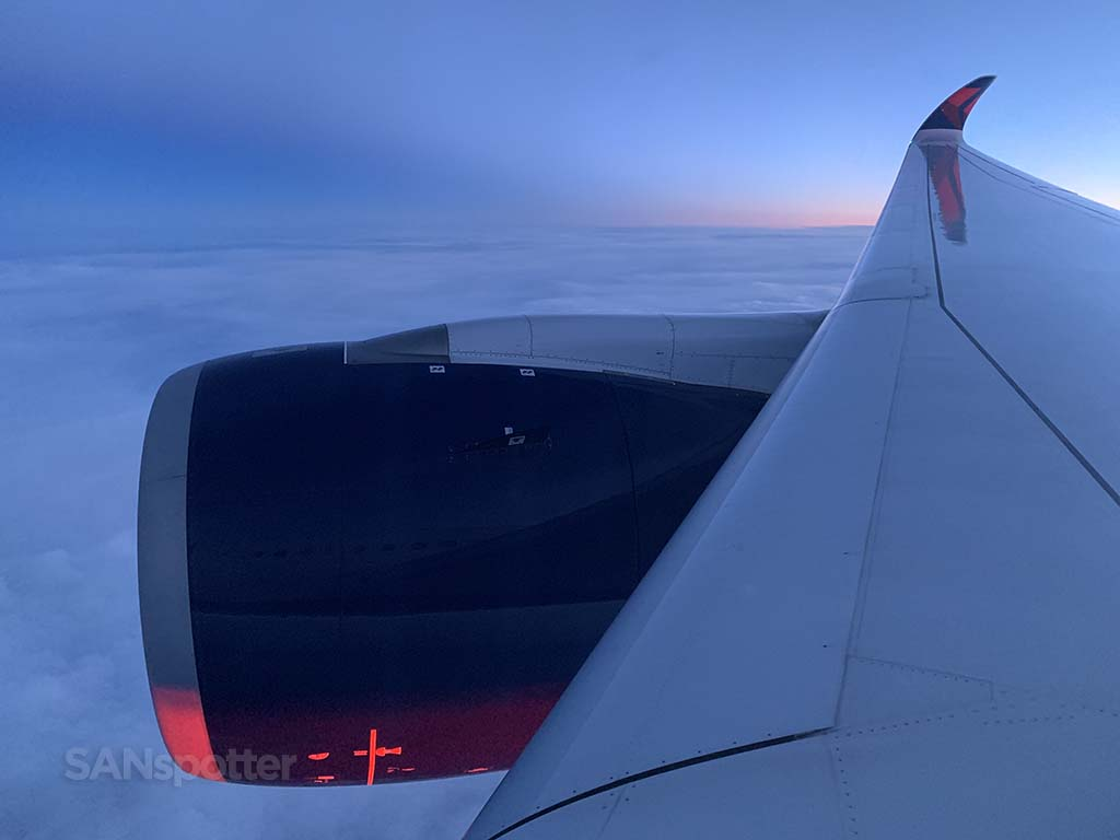 Delta A350 engine and wing view