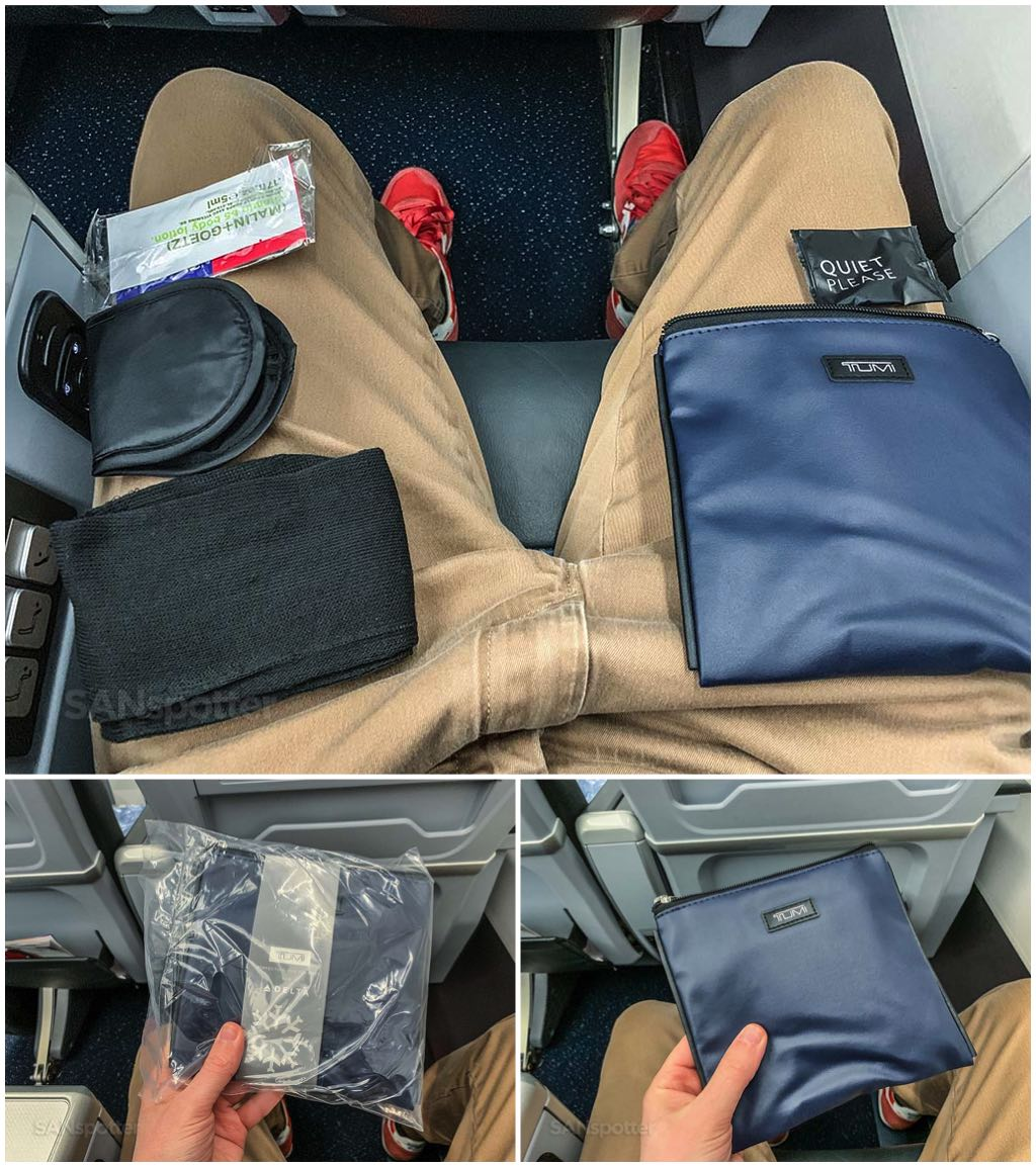 Delta premium select review Tumi amenity kit
