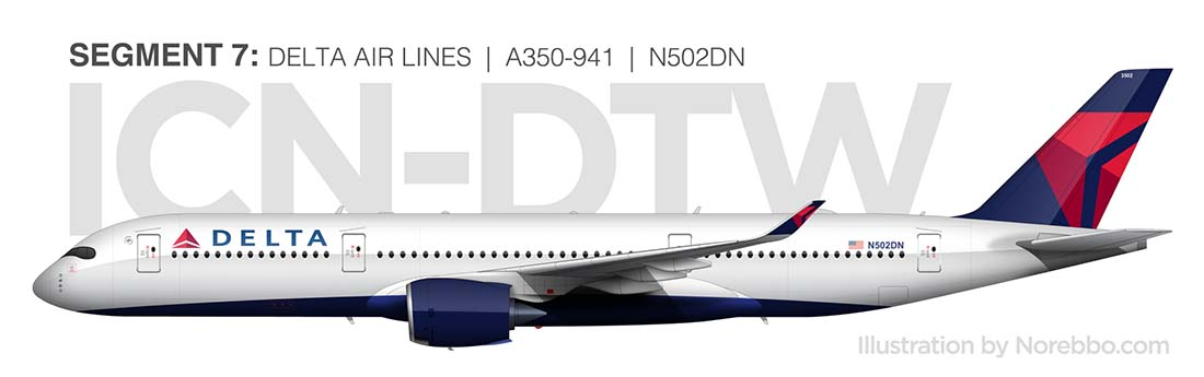 Delta A350-900 detailed side view