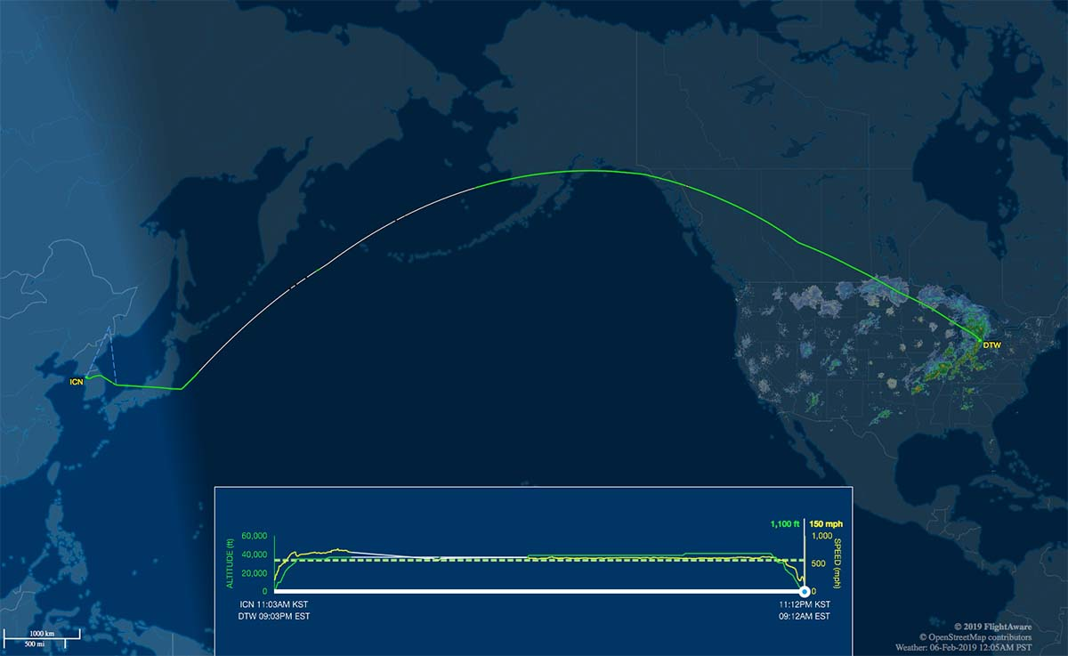 ICN-DTW flight track map