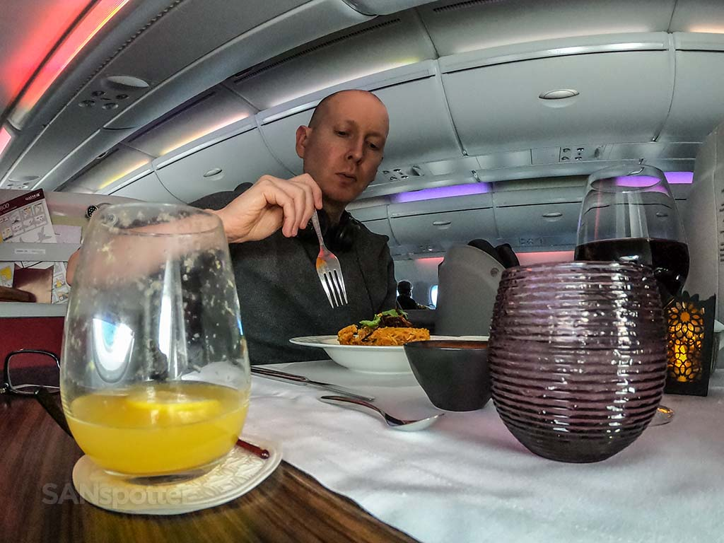 SANspotter selfie Qatar Airways food