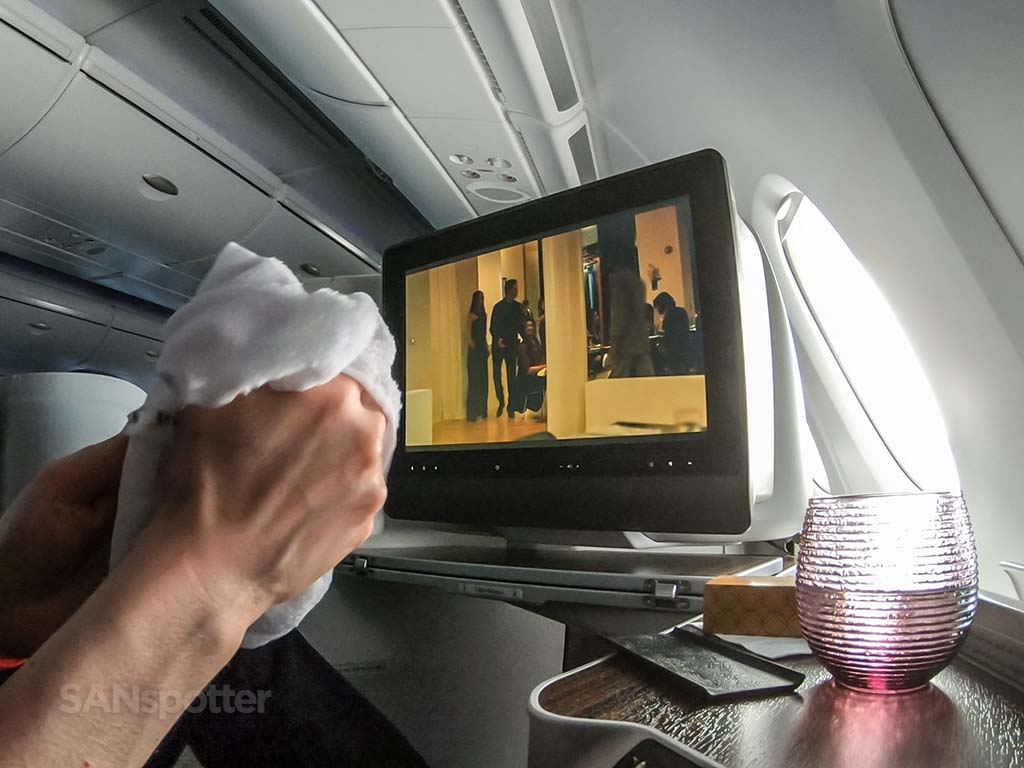 Watching movie Qatar business class