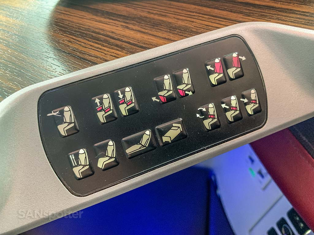 Qatar Airways business class seat controls