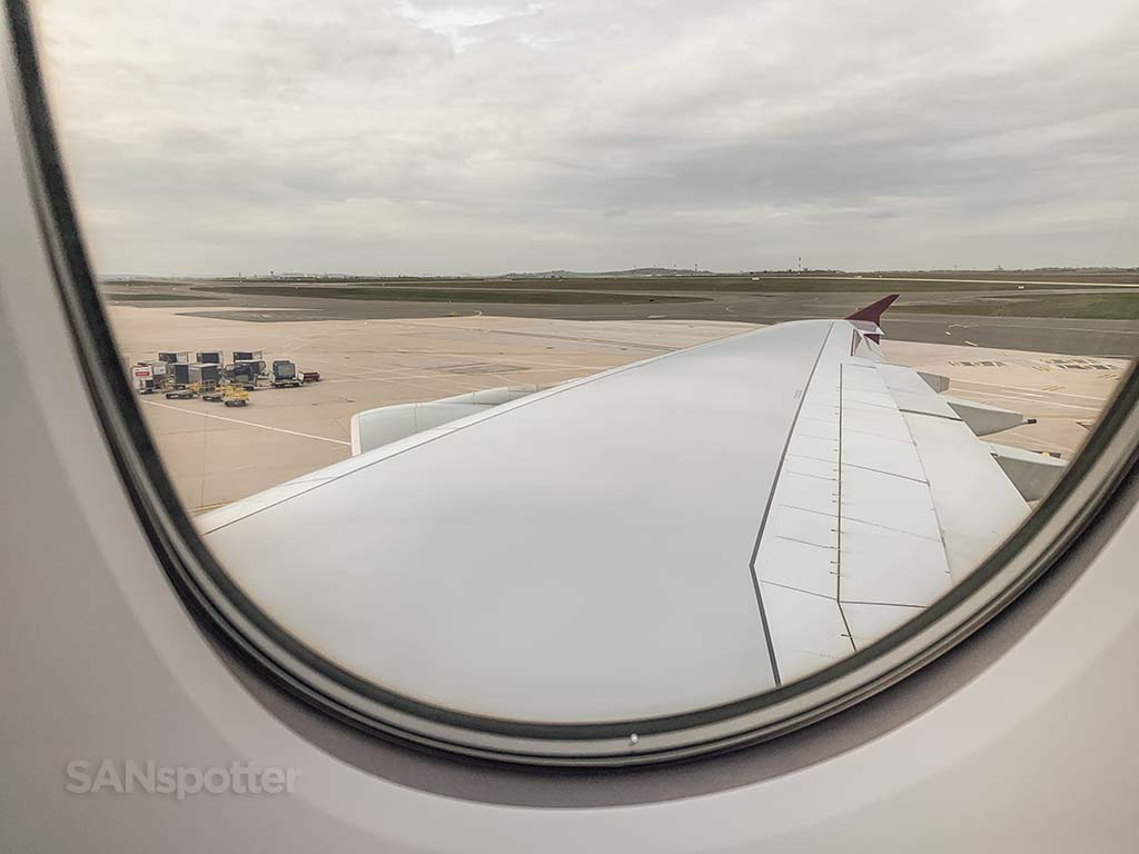Qatar Airways a380 wing view