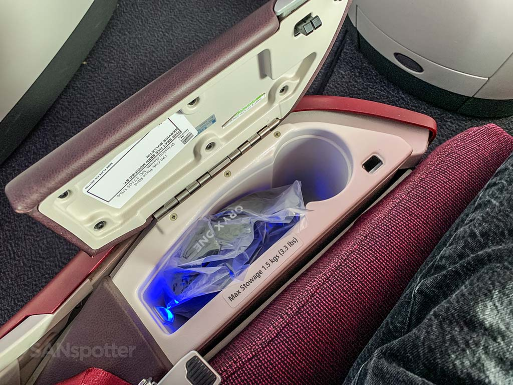Qatar Airways business class storage space