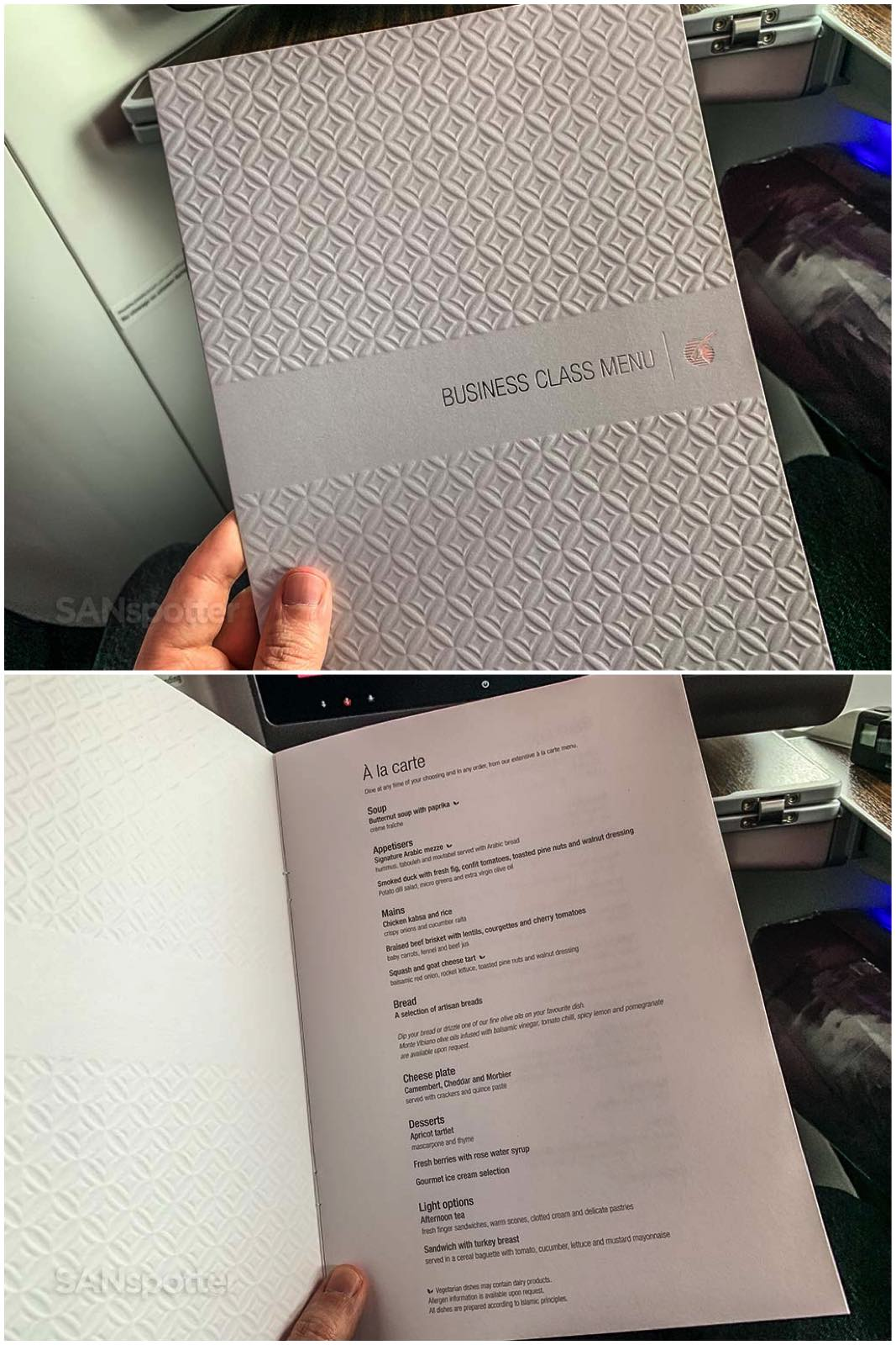 Qatar Airways business class menu