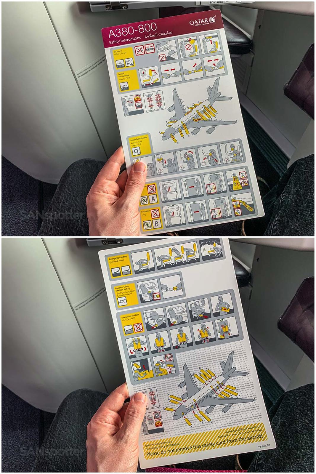 Qatar Airways a380 safety card