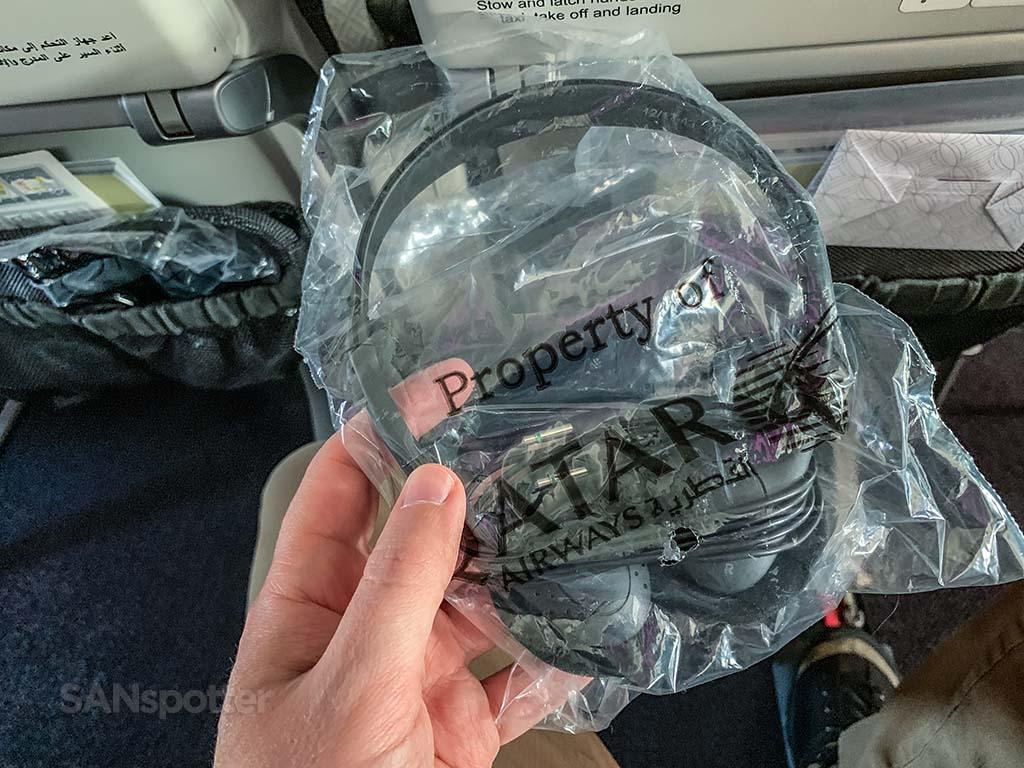 Qatar Airways economy class headphones