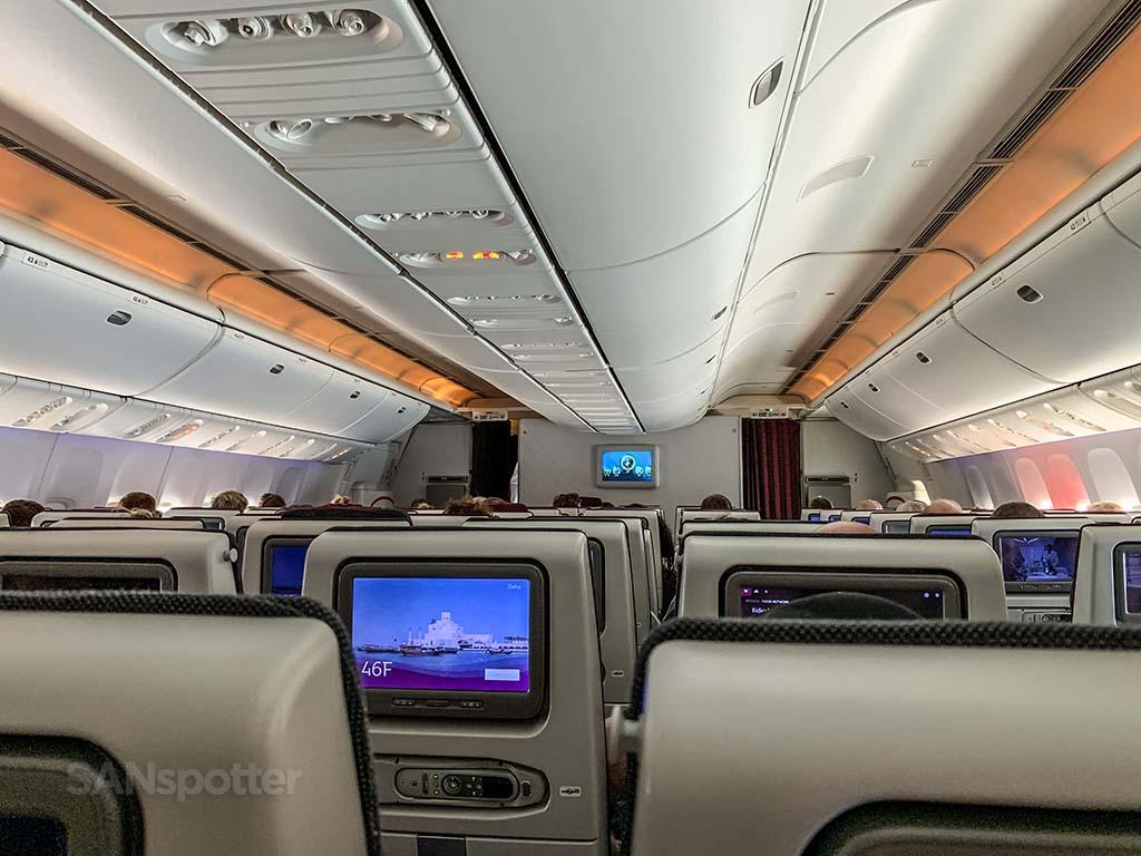 Qatar 777 economy class cabin
