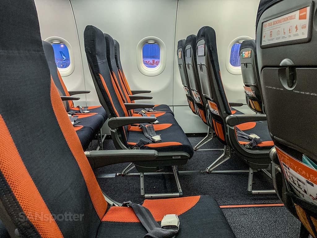 gray and orange EasyJet seats