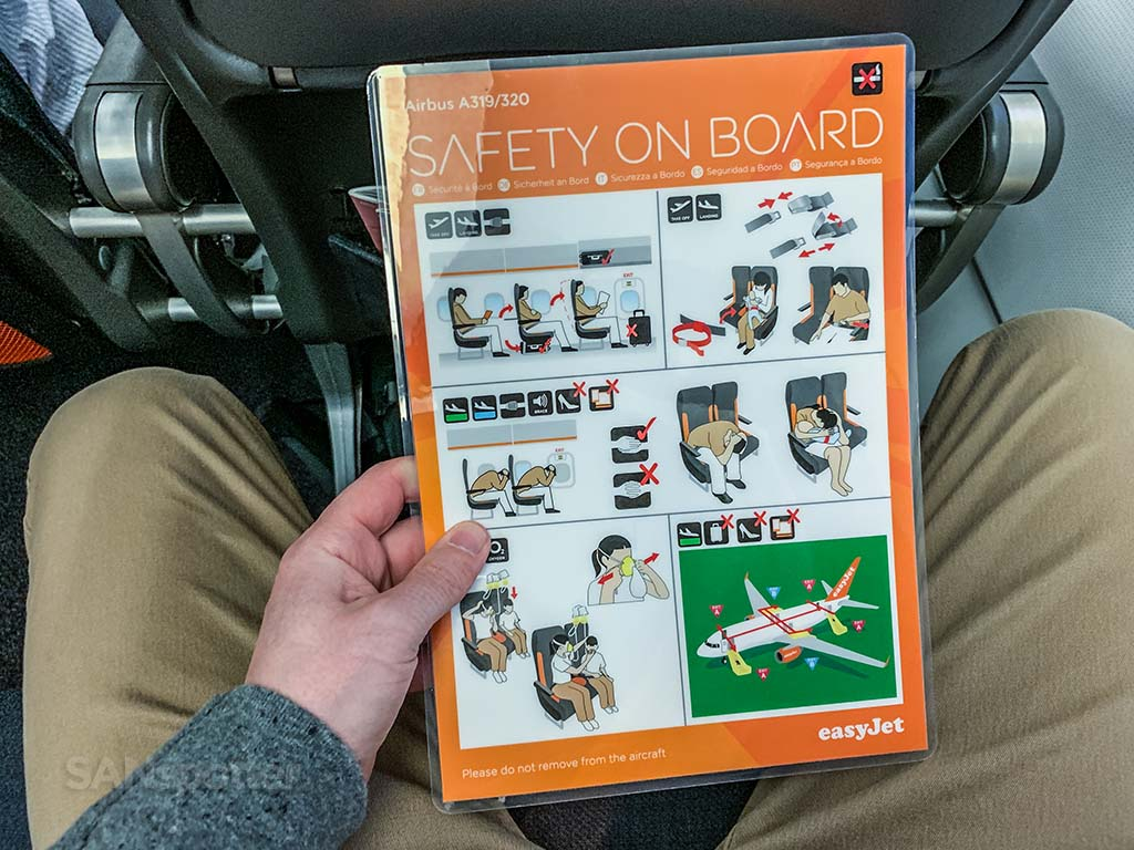 EasyJet a320 safety card