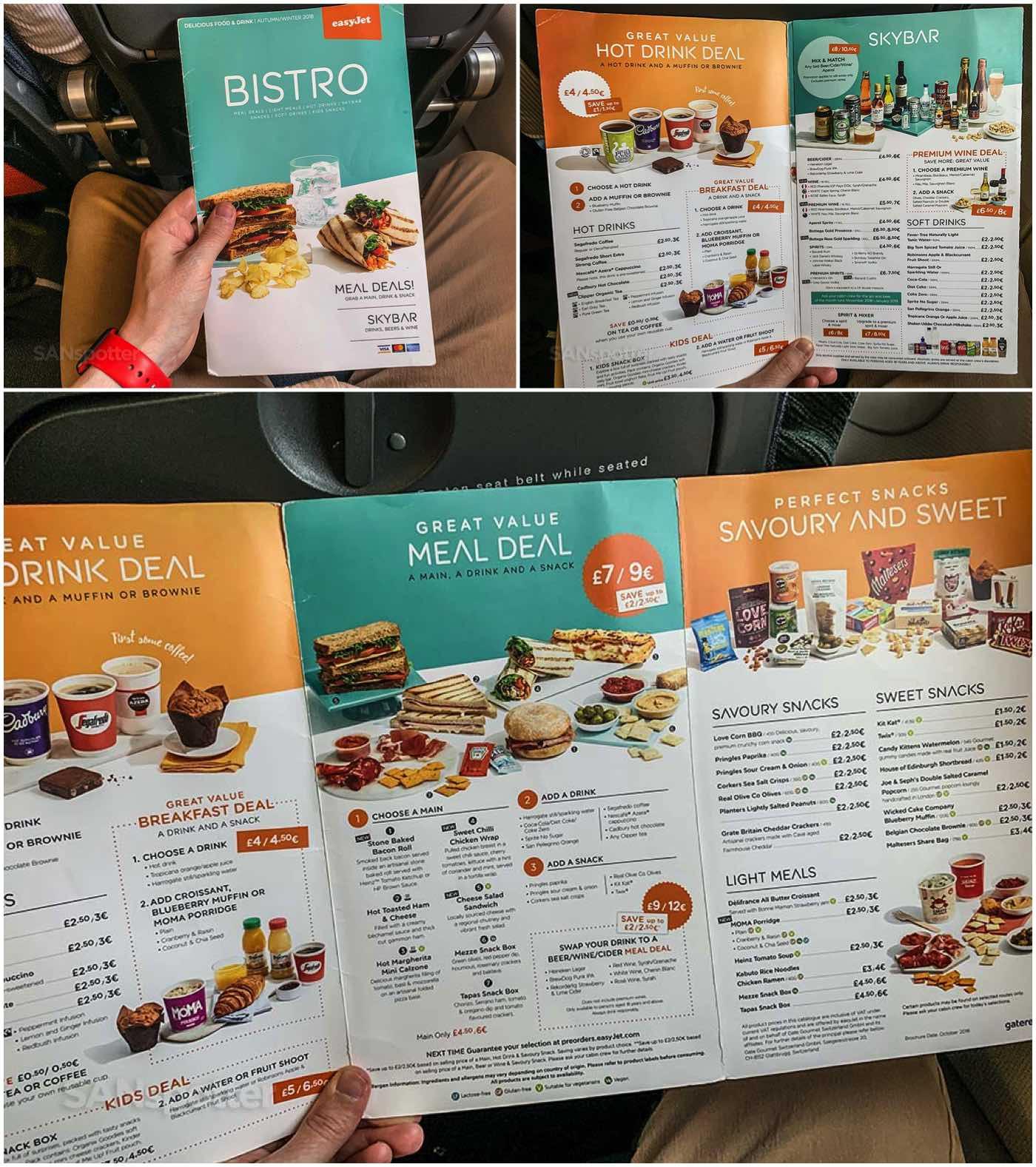 easyJet food menu