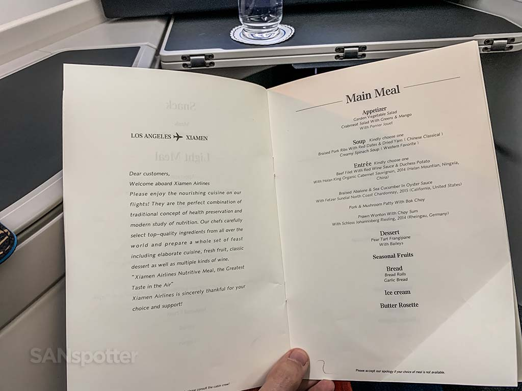 Xiamen Airlines business class menu