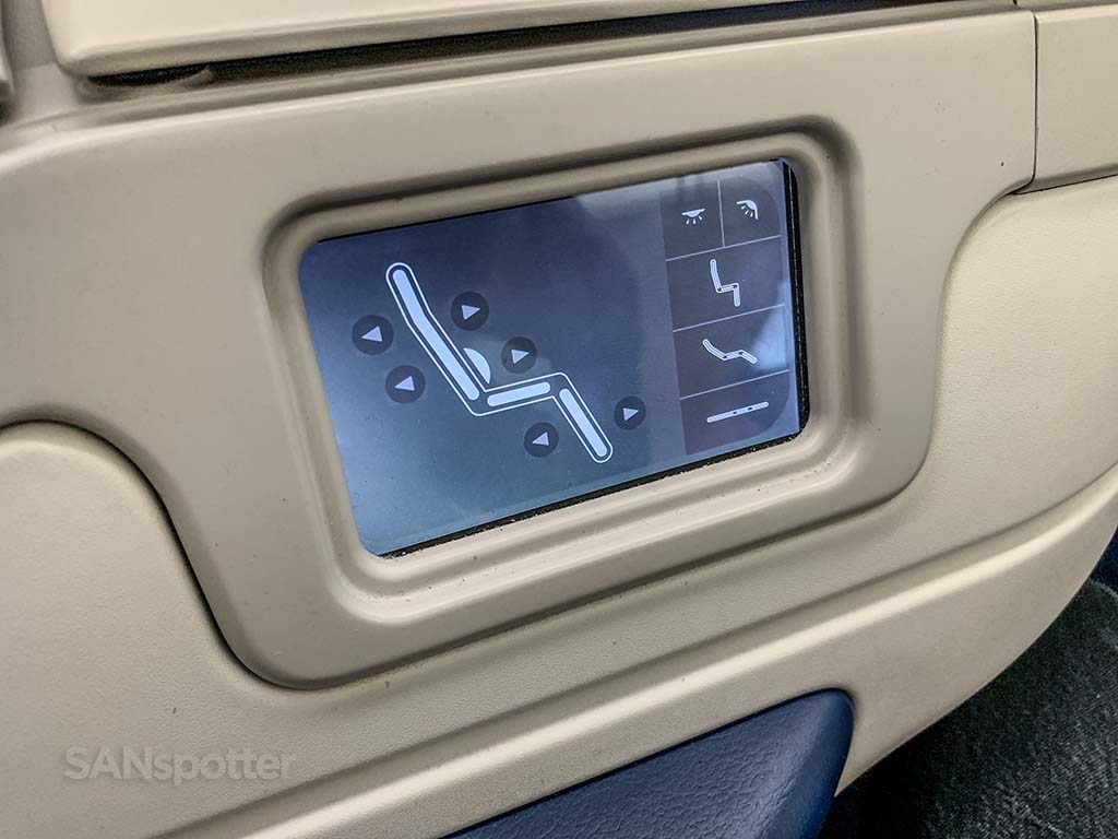 Xiamen Airlines business class seat controls