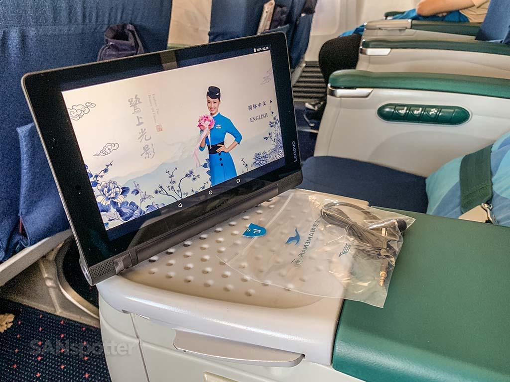 Xiamen Air personal entertainment tablets