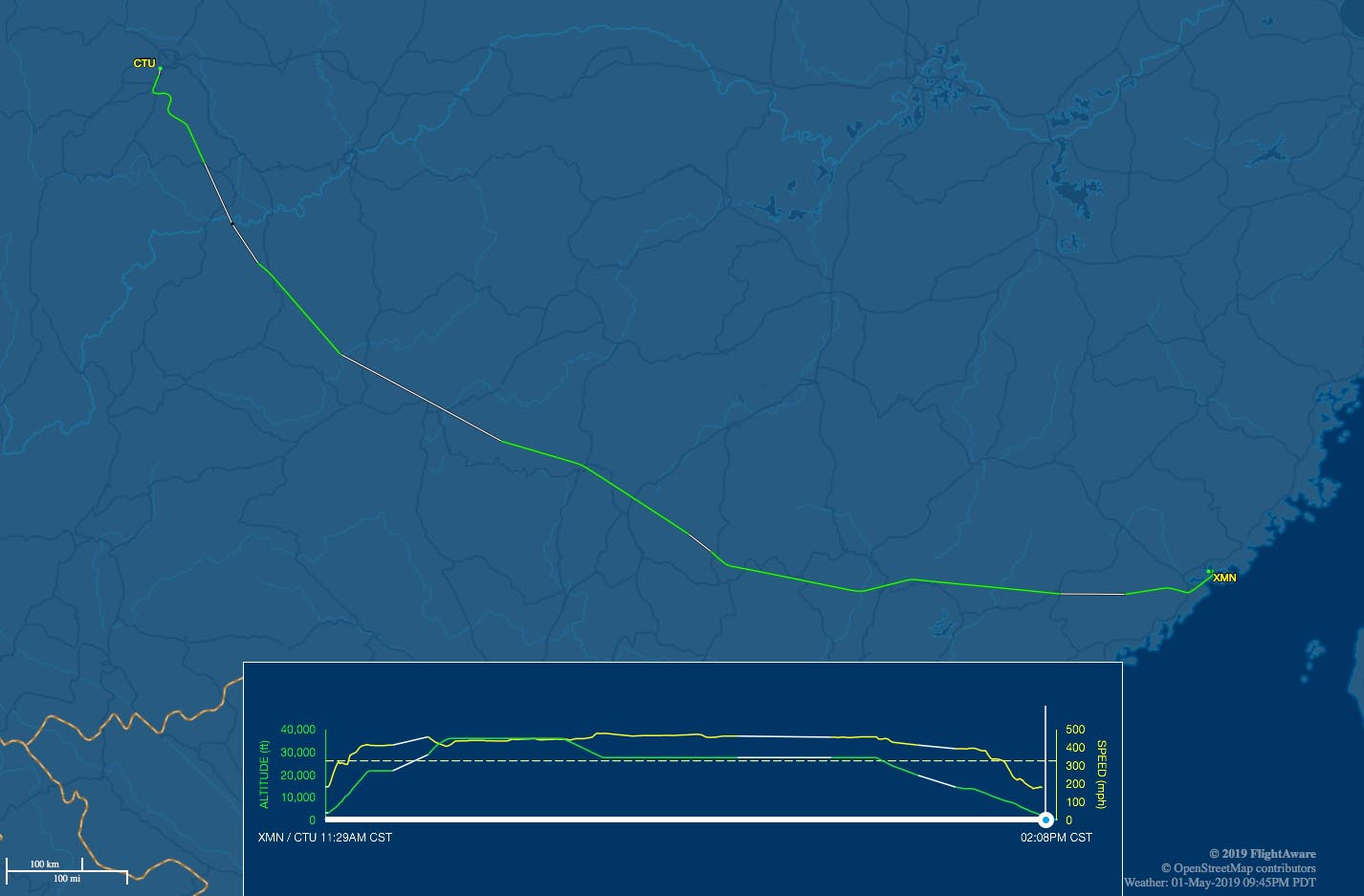 xmn-ctu flight track