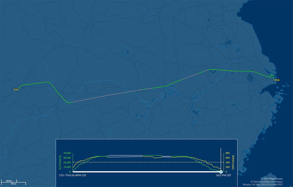 CTU-PVG flight track