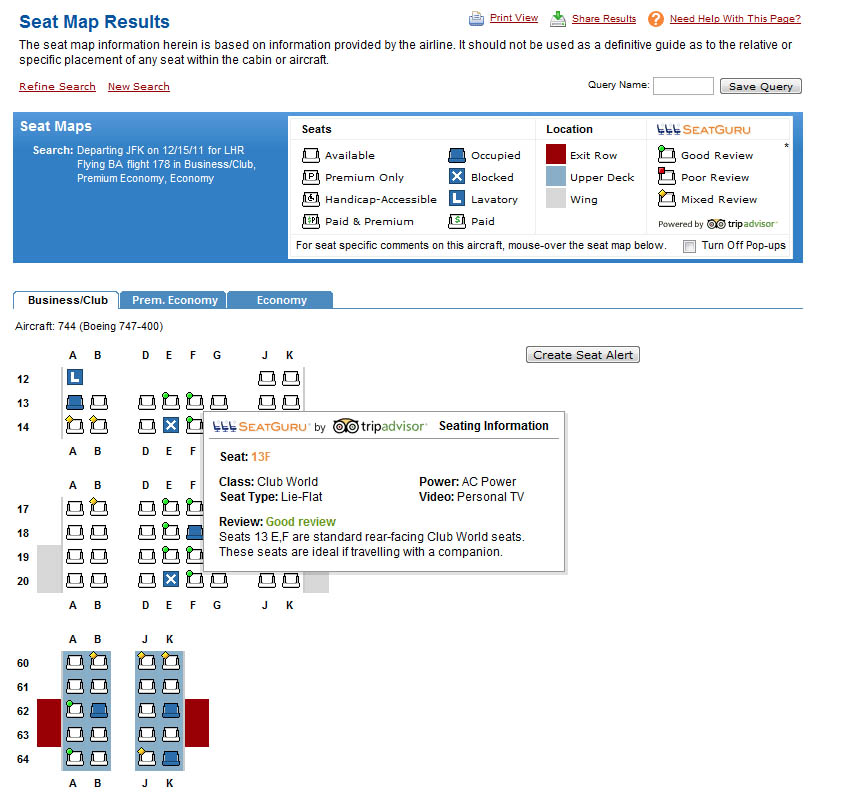 ExpertFlyer seat map tool