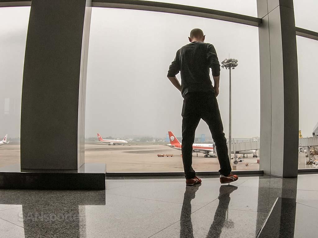 SANspotter selfie Chengdu airport