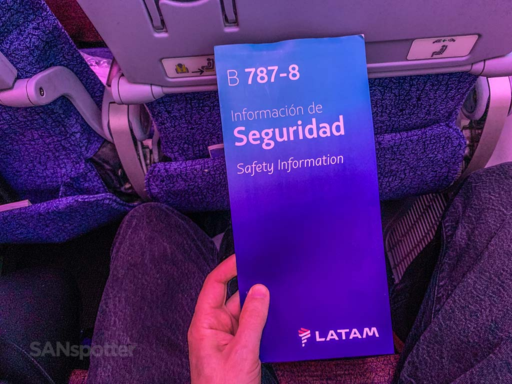 Latam 787-8 safety card