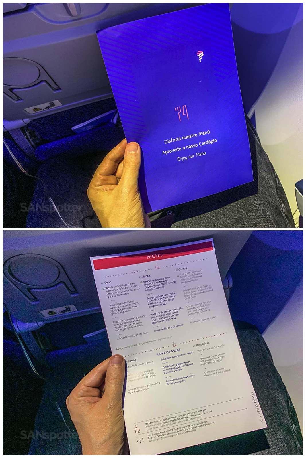 Latam Airlines menu