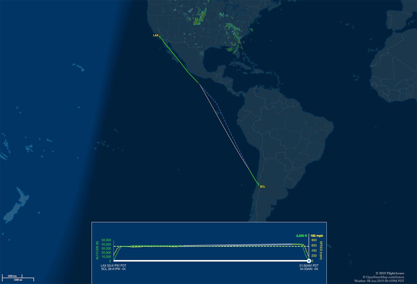 lax-scl flight track