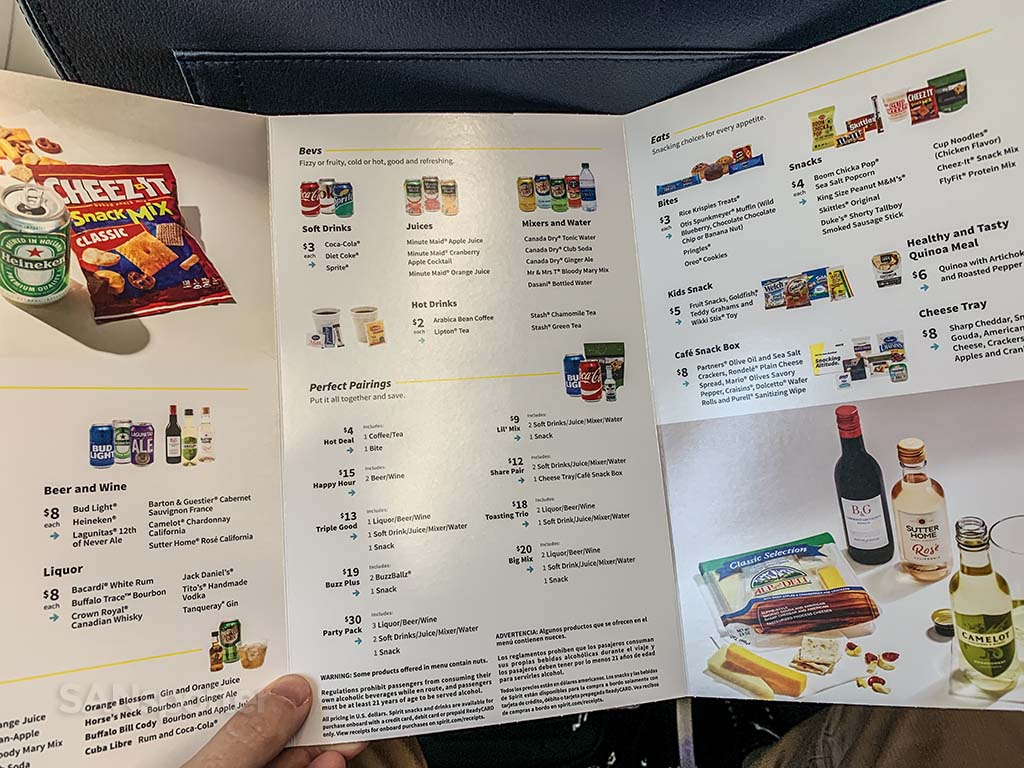 spirit airlines menu