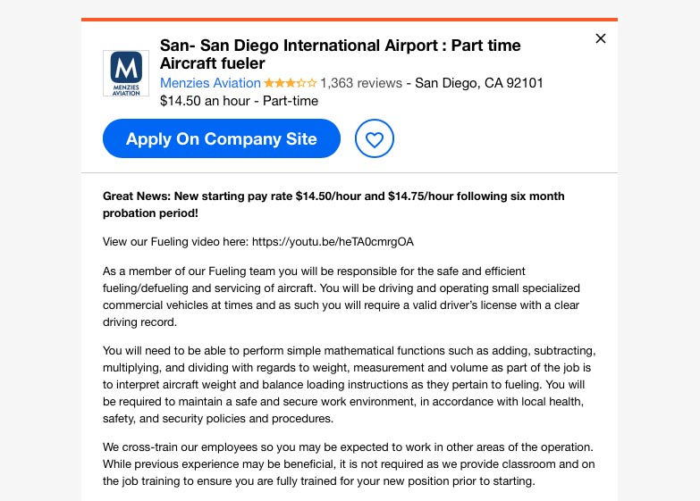part time aircraft fueler job