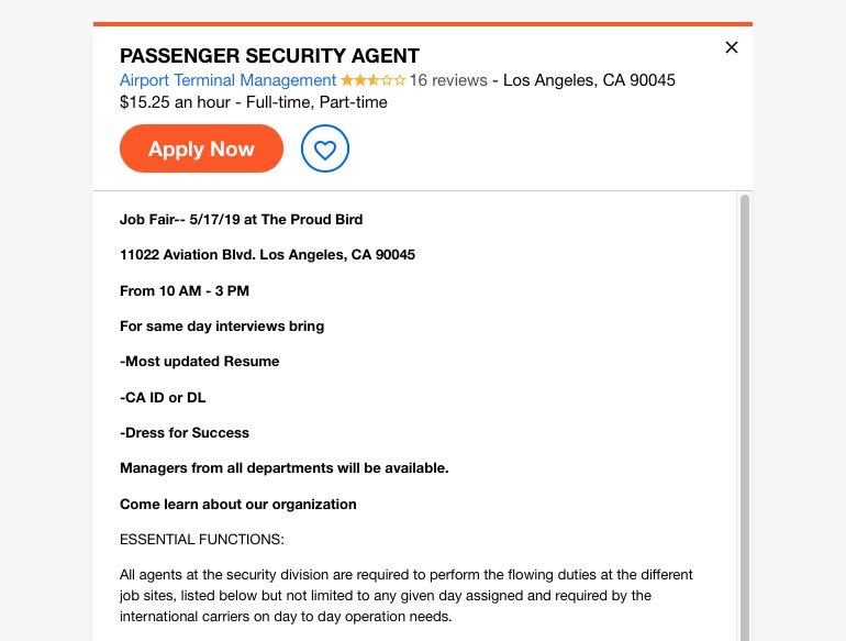 part time passenger security agent job