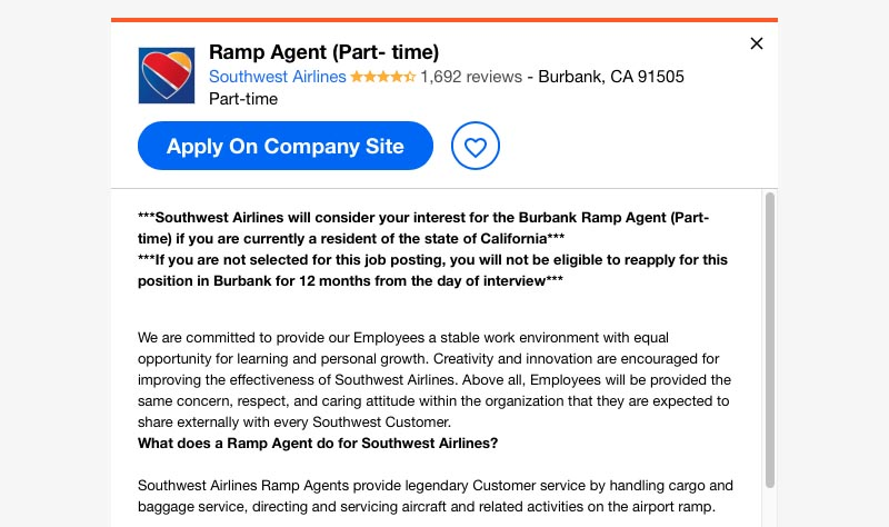 part time ramp agent job