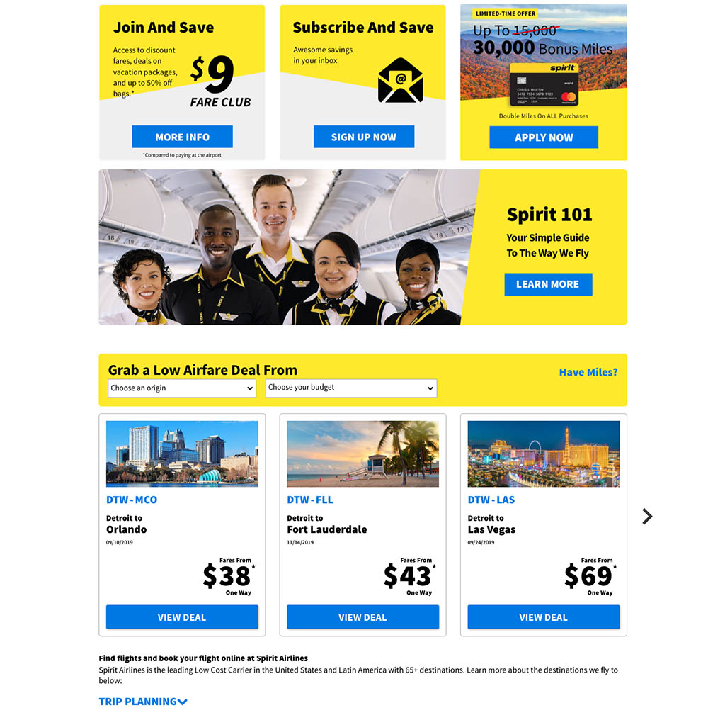 spirit airlines website screenshot