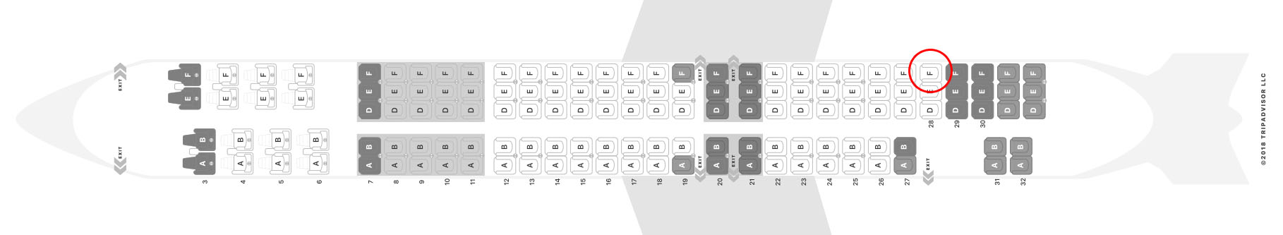 American Airlines MD-83 seat map