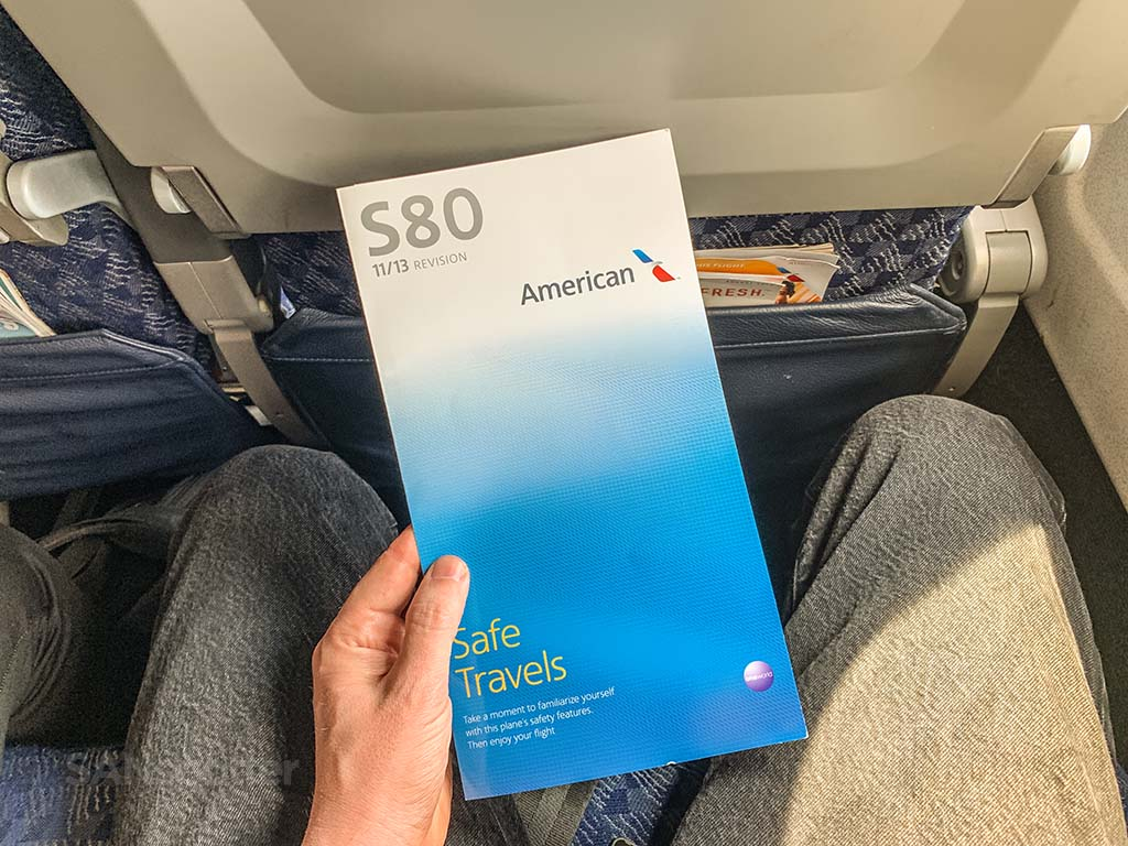 American Airlines super80 safety card