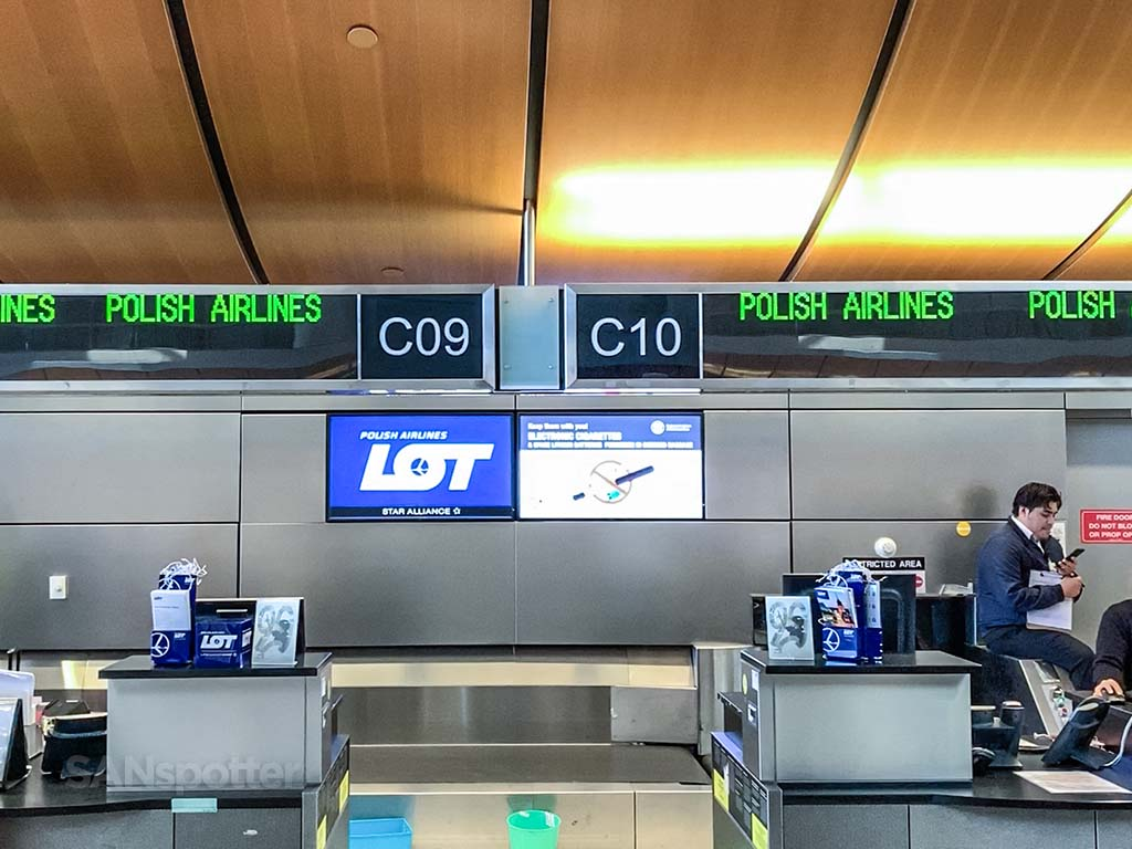 LOT Polish Airlines ticketing counter LAX