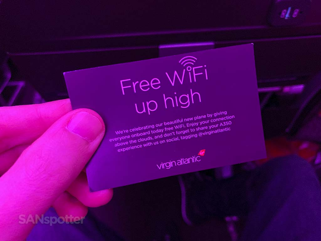 Virgin Atlantic free WiFi