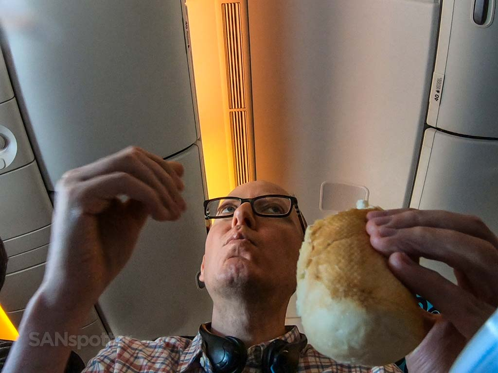 Sanspotter selfie air New Zealand meal