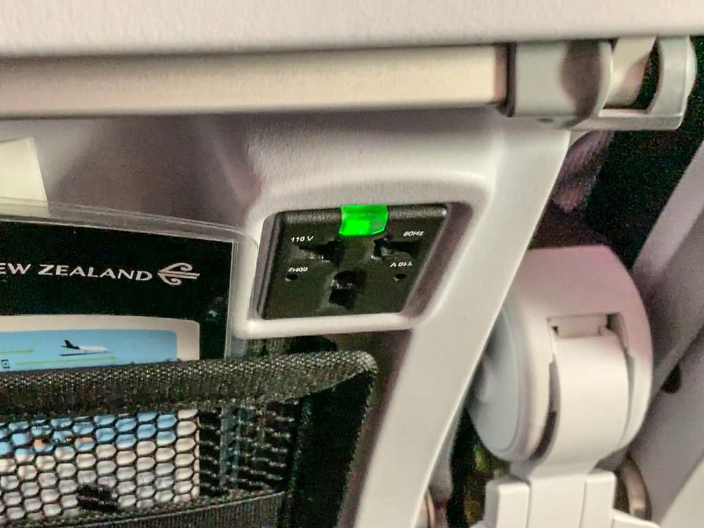 Air New Zealand electrical outlets USB ports