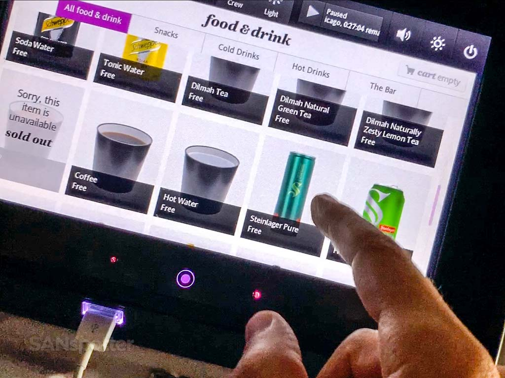 Air New Zealand video snack menu