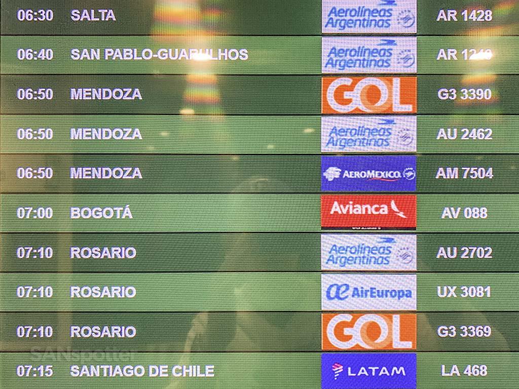 EZE airport departures