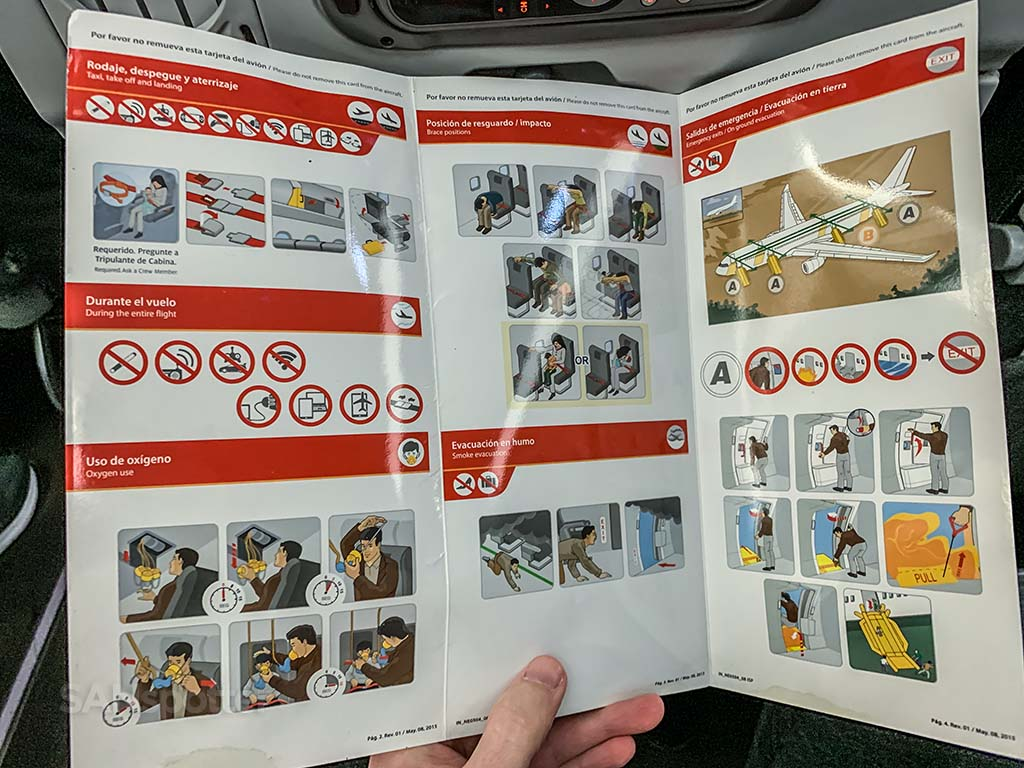Avianca a330-200 safety card Inside