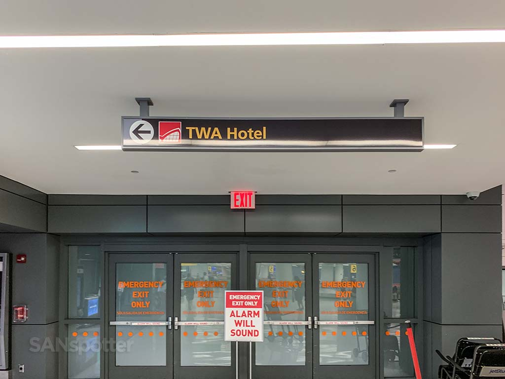 Signs to TWA hotel