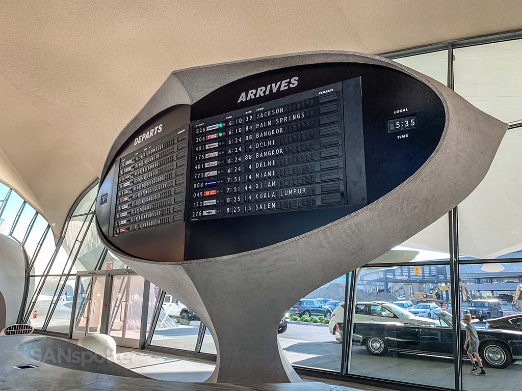 TWA hotel departures board